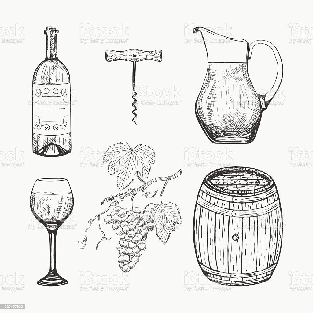 Creative sketch of wine elements. Vector illustration. vector art illustration