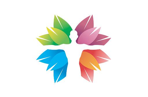 Creative Skincare Body Colorful Leaves Symbol Design