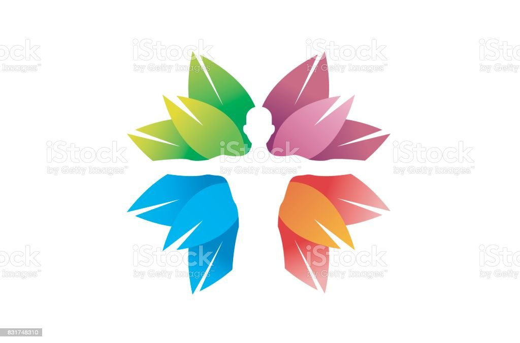 Creative Skincare Body Colorful Leaves Symbol Design vector art illustration