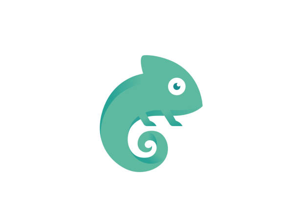 creative small chameleon logo - chameleon stock illustrations