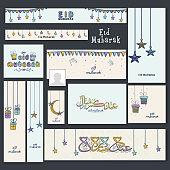 Creative social media ads or header for Eid celebration.