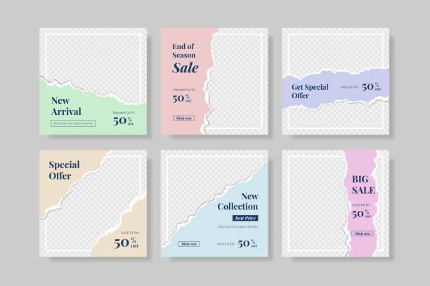 творческие социальные медиа instagram пост шаблон с разорванной бумаги стиль баннер - instagram stock illustrations