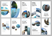 Creative social networks stories design, vertical banner or flyer templates with with circle elements, round shapes. Covers design templates for flyer, leaflet, brochure, presentation, advertising