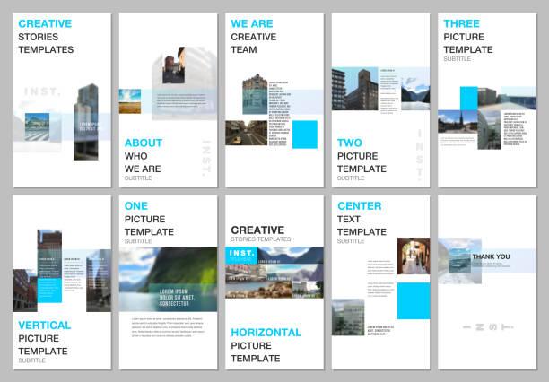 kreative soziale netzwerke erzählen design, vertikale banner oder flyer-vorlagen mit bunten gradientendesign geometrische trendelemente. cover designvorlage für flyer, prospekt, broschüre, präsentation - storytelling grafiken stock-grafiken, -clipart, -cartoons und -symbole