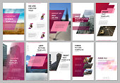 Creative social networks stories design, vertical banner or flyer templates with red colored colorful gradient geometric background. Covers design templates for flyer, leaflet, brochure, presentation.