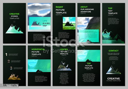 Creative social networks stories design, vertical banner or flyer template. Covers design templates for flyer, brochure. Background for tourist camp, nature tourism, camping. Aadventure design concept.