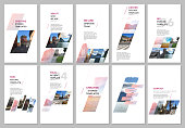 Creative social networks stories design, vertical banner or flyer templates with colorful gradient geometric background. Covers design templates for flyer, leaflet, brochure, presentation, advertising.