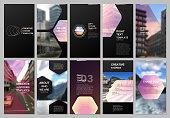 Creative social networks stories design, vertical banner or flyer templates with hexagonal design colorful pattern background. Covers design templates for flyer, leaflet, brochure, presentation