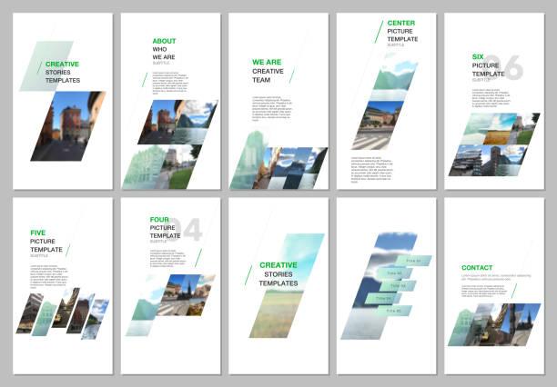 kreative soziale netzwerke geschichten design, vertikale banner oder flyer vorlagen mit bunten farbverlauf geometrischen hintergrund. umfasst designvorlagen für flyer, broschüre, broschüre, präsentation, werbung - storytelling grafiken stock-grafiken, -clipart, -cartoons und -symbole