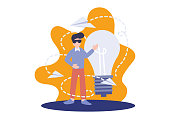 istock Creative solution, flat business people, vector illustration. Big light bulb with a man and paper plane. Elements for banner, ui, flyer, web, landing page, and poster. 1217829221