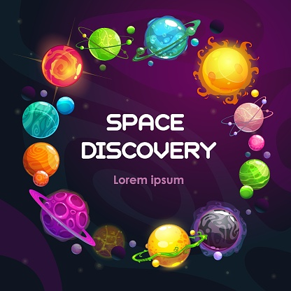 Creative space background with cartoon colorful fantasy planets. Astronomy concept background.