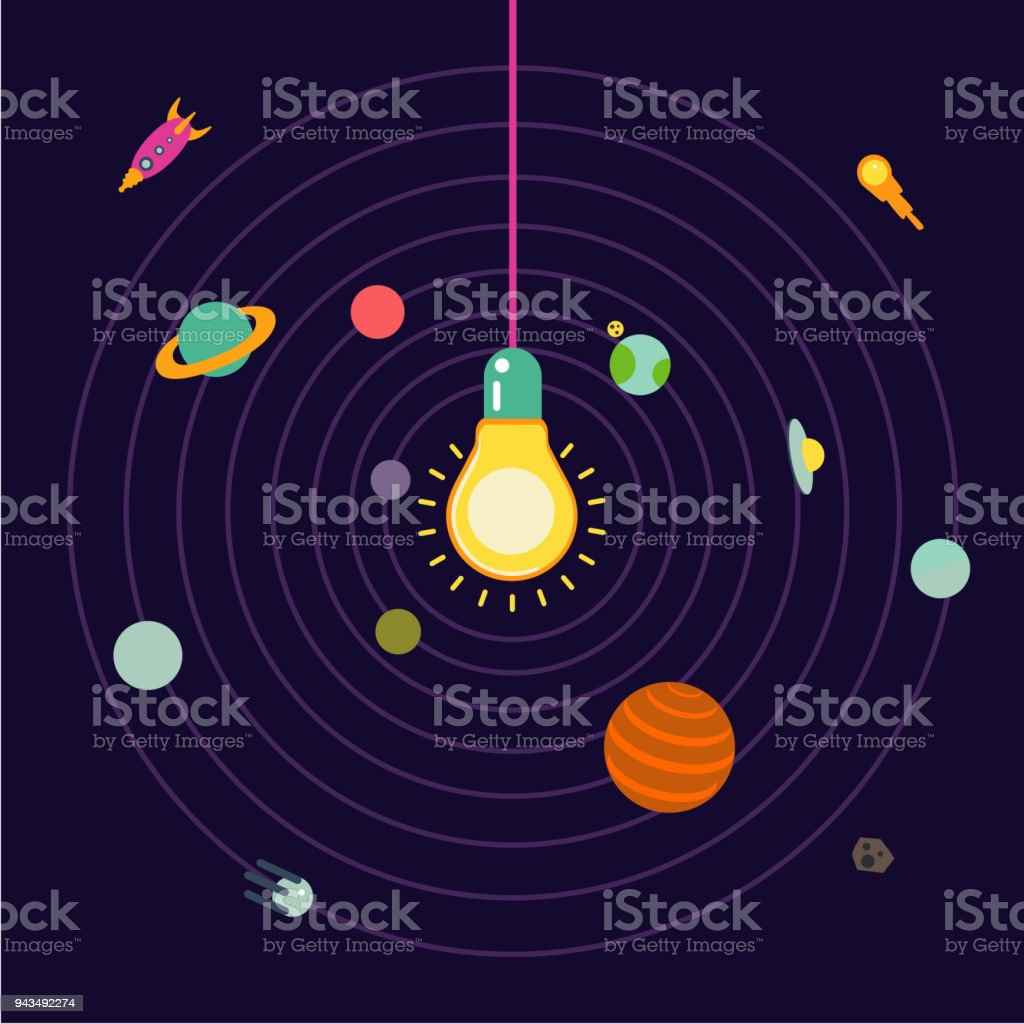 Light Lamp In The Center Of The Solar System. Royalty Free