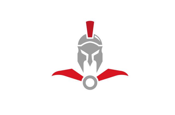 kreative spartan helm logo design vektor symbol illustration - sportschutzhelm stock-grafiken, -clipart, -cartoons und -symbole