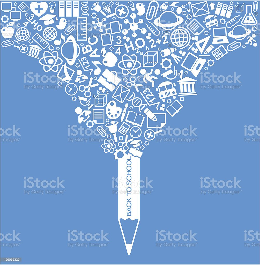 creative splash pencil with school icons set illustration royalty-free stock vector art