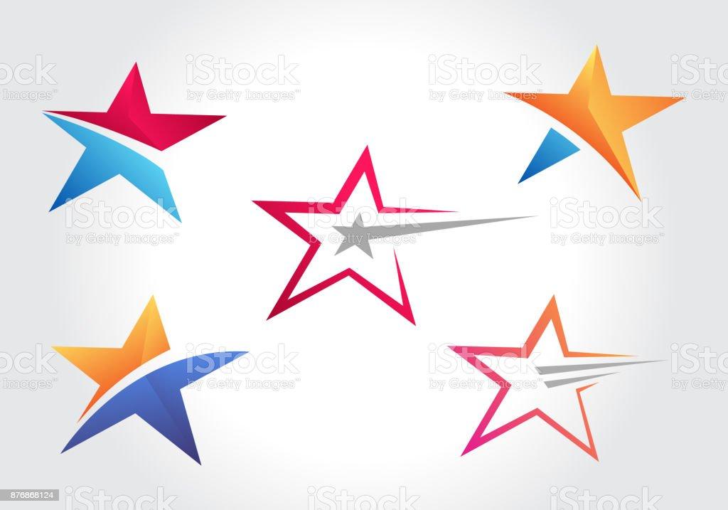 Kreative Sternform Icon-Sammlungen – Vektorgrafik