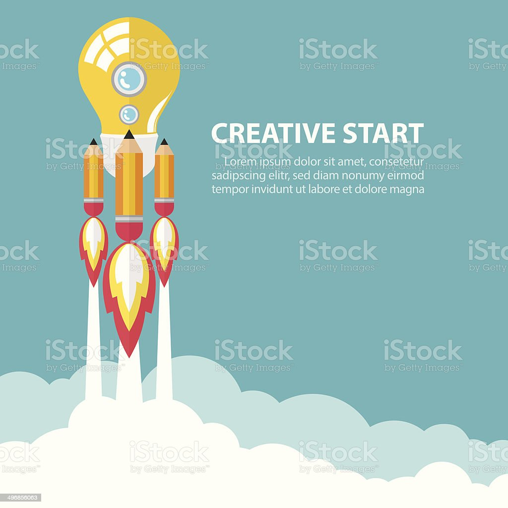 Creative start up vector art illustration