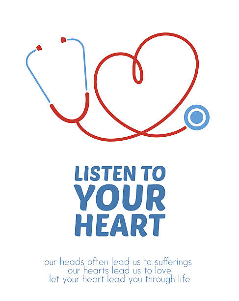 Creative stethoscope illustration Stethoscope forming heart with its cord. Creative illustration with motivational message. stethoscope stock illustrations