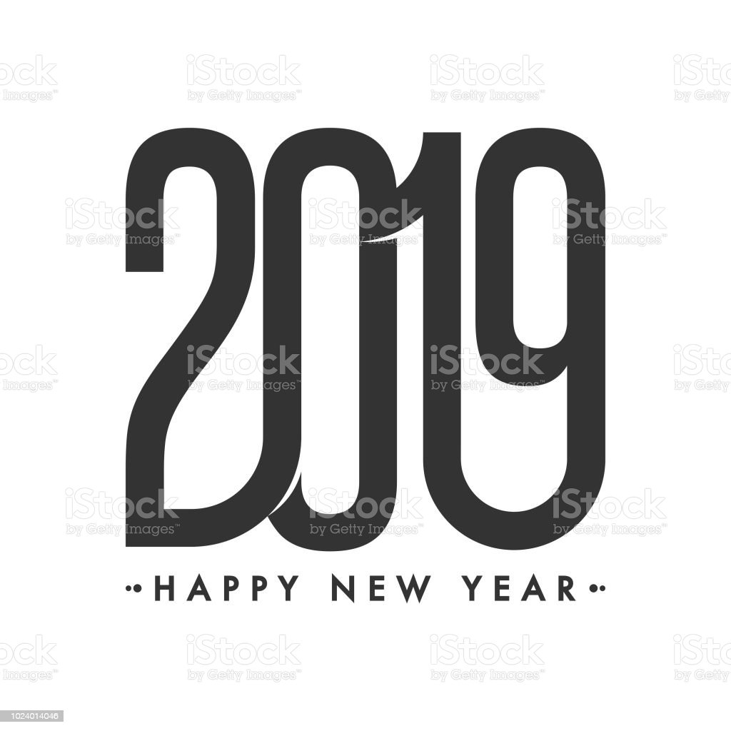 creative stylish text 2019 on white background for new year celebration greeting card design royalty