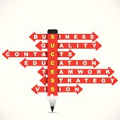 other different crossword creative success stock vector by use of pencil and arrow