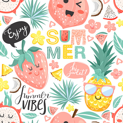 Creative summer collage. Contemporary seamless pattern with cute pineapple, peach, strawberry, dragon fruit characters with kawaii face.