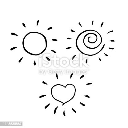 Creative set of three sun drawings isolated on white in cool childish stye.