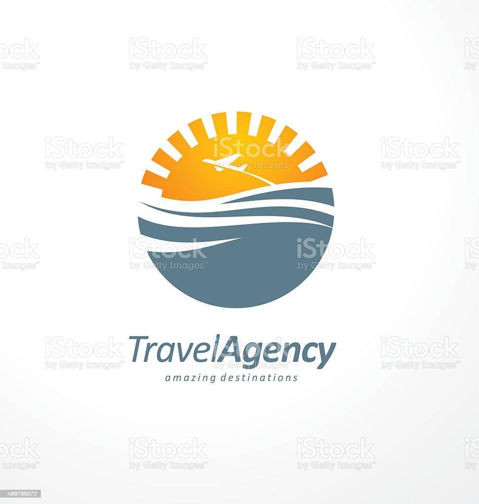Creative symbol design concept with sun and ocean vector art illustration