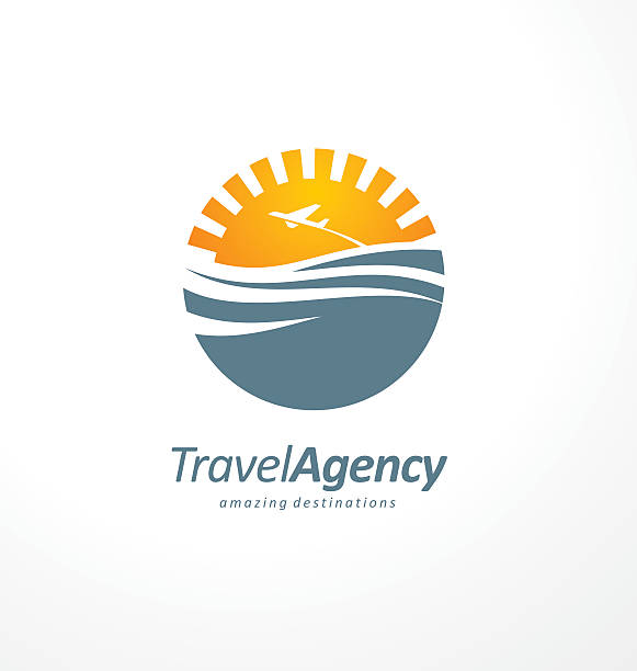 クリエイティブなシンボルデザインのコンセプトは、太陽と海 - 旅行代理店点のイラスト素材/クリップアート素材/マンガ素材/アイコン素材