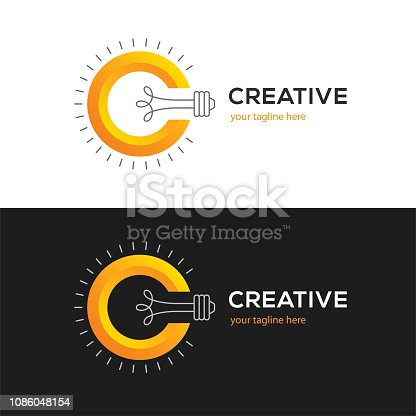 Creative symbol with letter C and light bulb on white and black backgrounds. Bright idea icon.
