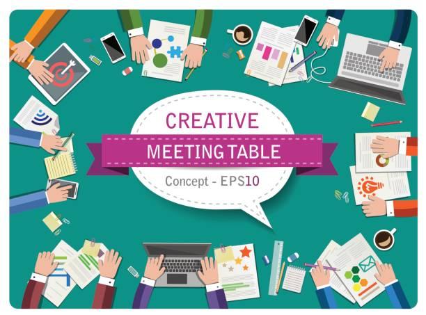 illustrazioni stock, clip art, cartoni animati e icone di tendenza di creative table - business concept - business meeting, table view from above