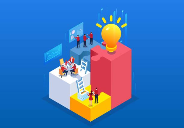 クリエイティブチームの財務業務 - ひらめき点のイラスト素材/クリップアート素材/マンガ素材/アイコン素材