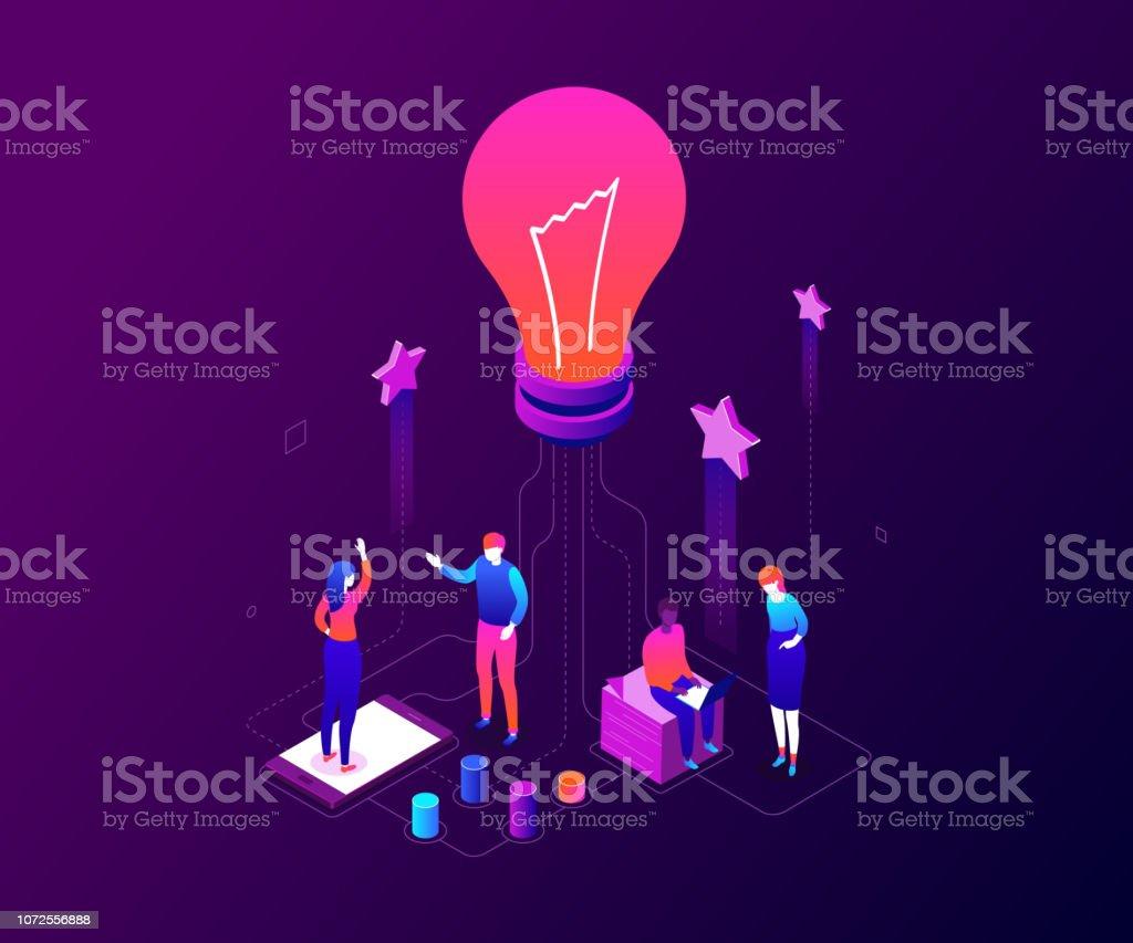 Équipe de création - illustration vectorielle isométrique coloré moderne - Illustration vectorielle