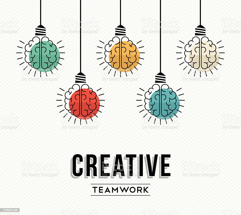 Creative teamwork concept design with human brains vector art illustration