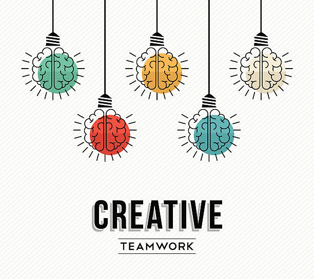 Creative teamwork concept design with human brains Creative teamwork modern design with human brains as colorful lamp light, success in business concept. EPS10 vector. brainstorming stock illustrations