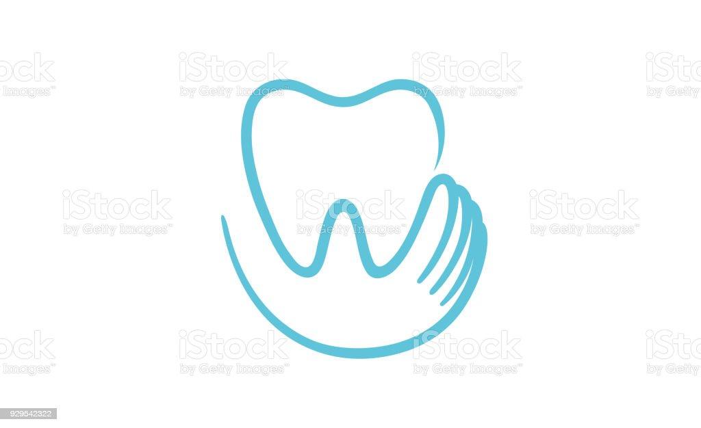 Icono de corazón interior sostiene los dientes creativo, - ilustración de arte vectorial