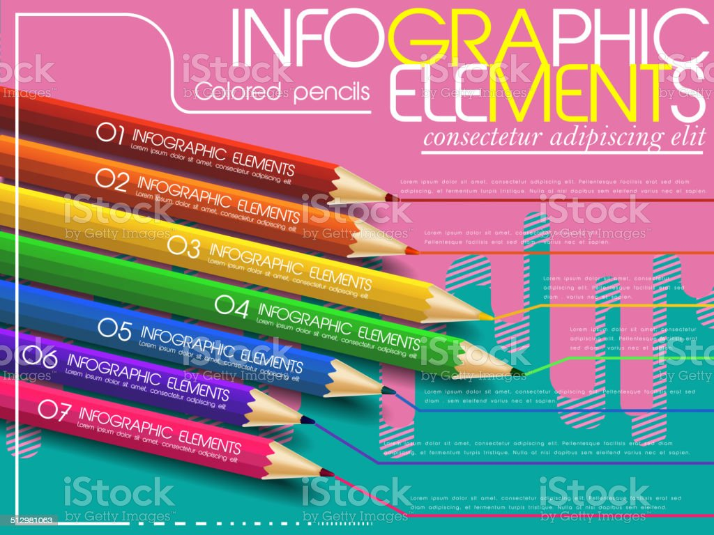 creative template infographic with colorful pencils over modern vector art illustration
