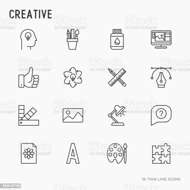Creative thin line icons set idea puzzle color palette brushes vector id895048798?b=1&k=6&m=895048798&s=612x612&h=oqulnqyfu 5ieywtu3jjdzlamqawg8mbqrh3ijj ajw=