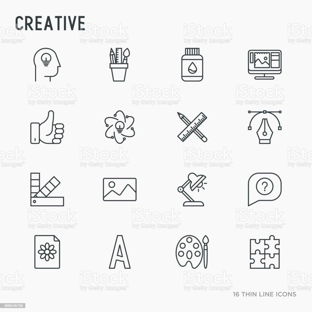 Creative thin line icons set: idea, puzzle, color palette, brushes, creative vision, development design. Vector illustration. vector art illustration
