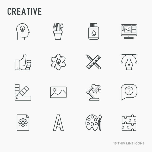 creative thin line icons set: idea, puzzle, color palette, brushes, creative vision, development design. vector illustration. - creativity stock illustrations
