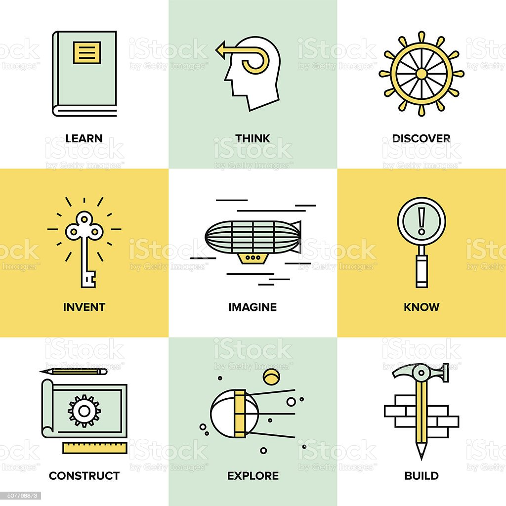 Creative thinking and invention flat icons royalty-free creative thinking and invention flat icons stock vector art & more images of abstract