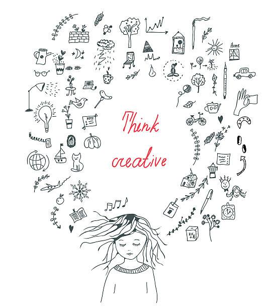 Conceito de pensamento criativo com uma menina - ilustração de arte em vetor