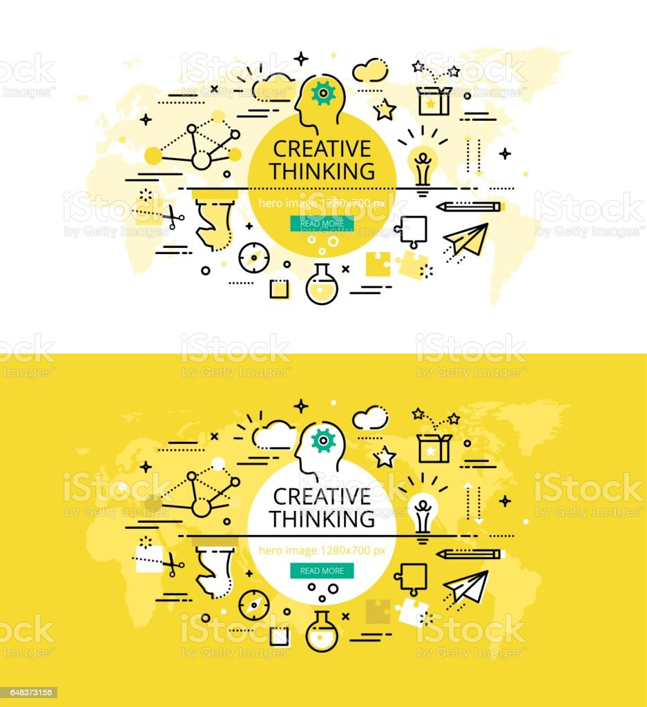 Creative Thinking. Flat line color hero images and hero banners design concept vector art illustration