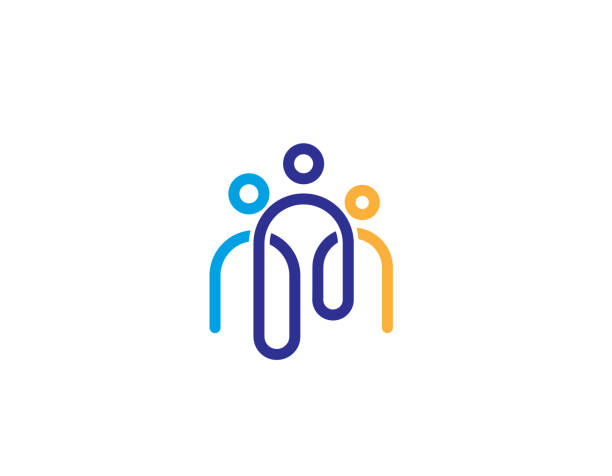 Creative Three People  icon Family, Hand, Human collaboration stock illustrations
