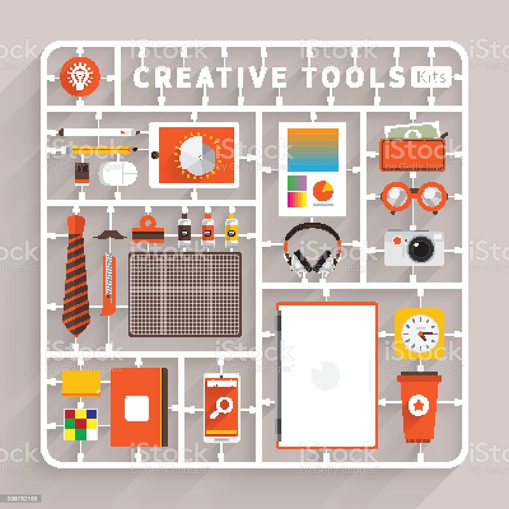 Creative Tools Kits vector art illustration