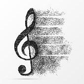 Creative treble clef. Abstract design. Symbol. Vector illustration