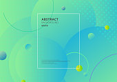 Creative trendy abstract minimal geometric circles shape with green and blue gradient background. Dynamic shapes composition and elements. Vector illustration