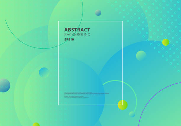 Creative trendy abstract minimal geometric circles shape with green and blue gradient background. Dynamic shapes composition and elements. Creative trendy abstract minimal geometric circles shape with green and blue gradient background. Dynamic shapes composition and elements. Vector illustration blue drawings stock illustrations
