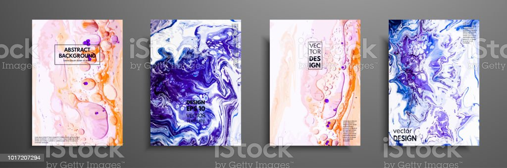 Kreative Trendige Karten Abstrakte Malerei Vorlagen Mit