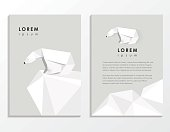 creative trendy low polygon style brochure template with polar bear