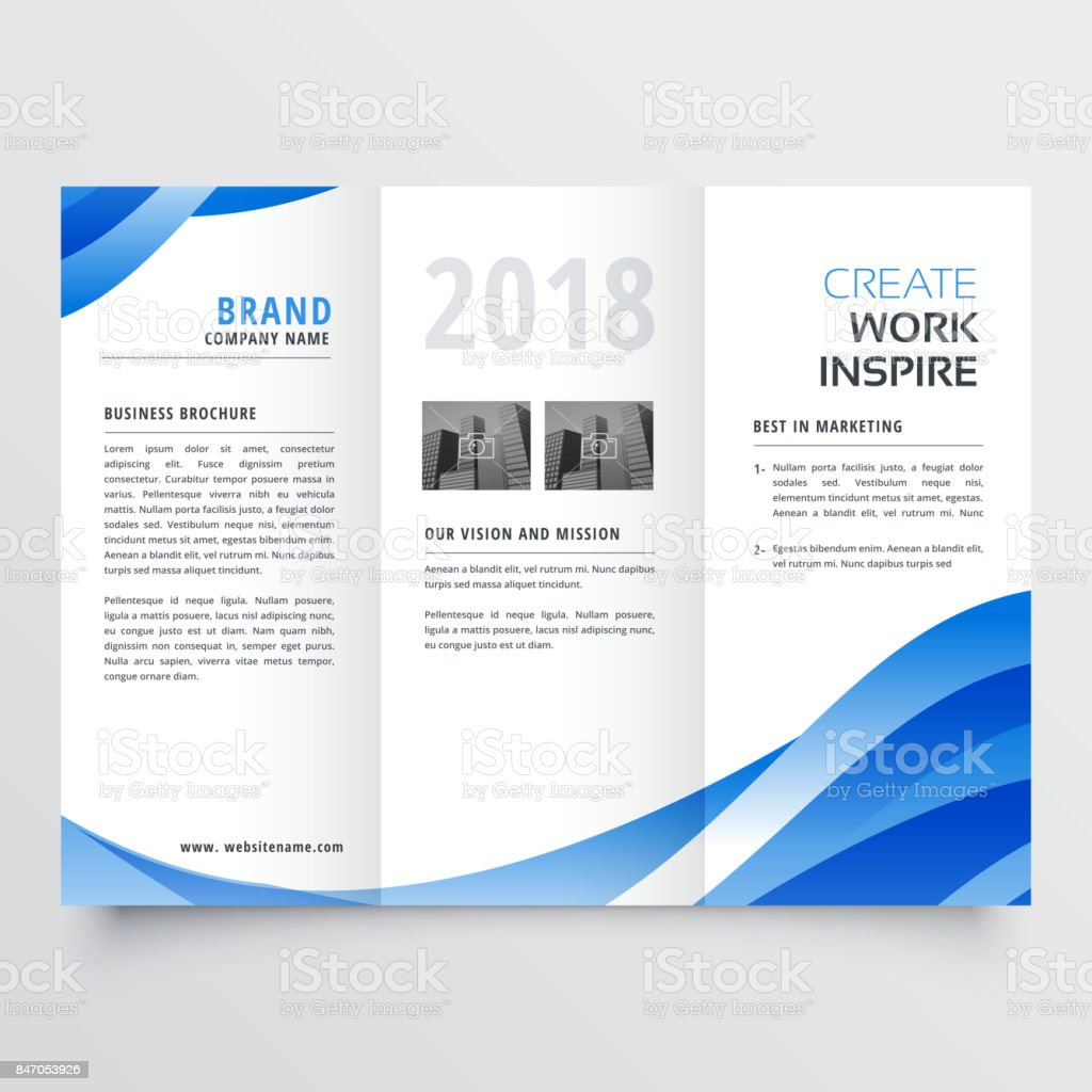 creative trifold brochure design template with trendy wave style