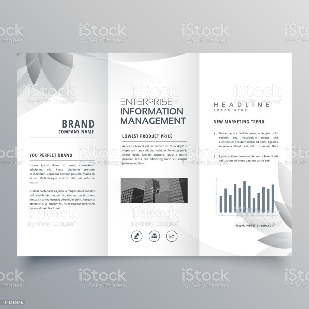 creative trifold brochure template with abstract gray shape vector art illustration